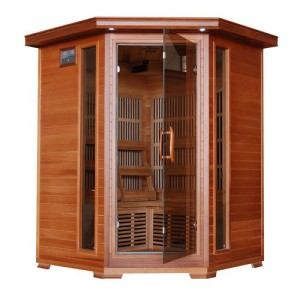 Harvil Serenity 3-Person Corner Cedar Sauna with Carbon Infrared Heaters