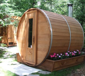 Outdoor Barrel Sauna Room 7' x 7' -Wood Fired Sauna